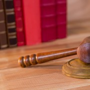 Close-up of judges gavel on a table